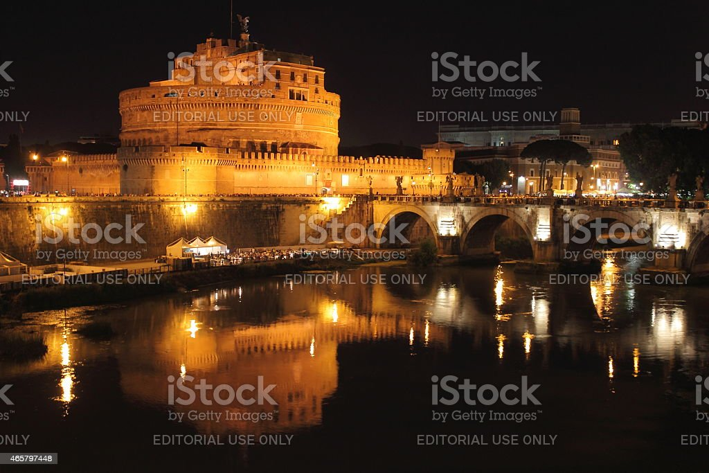 Saint Angel Castle and the Angels bridge by night stock photo