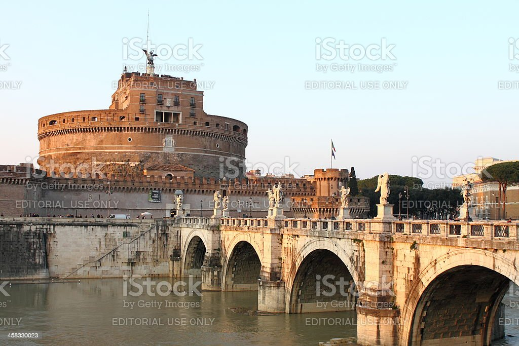 Saint Angel Castle and the Angel's Bridge stock photo