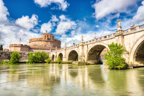 Saint Angelo Castle on a Sunny Day, Castel Sant Angelo in Rome, Italy stock photo
