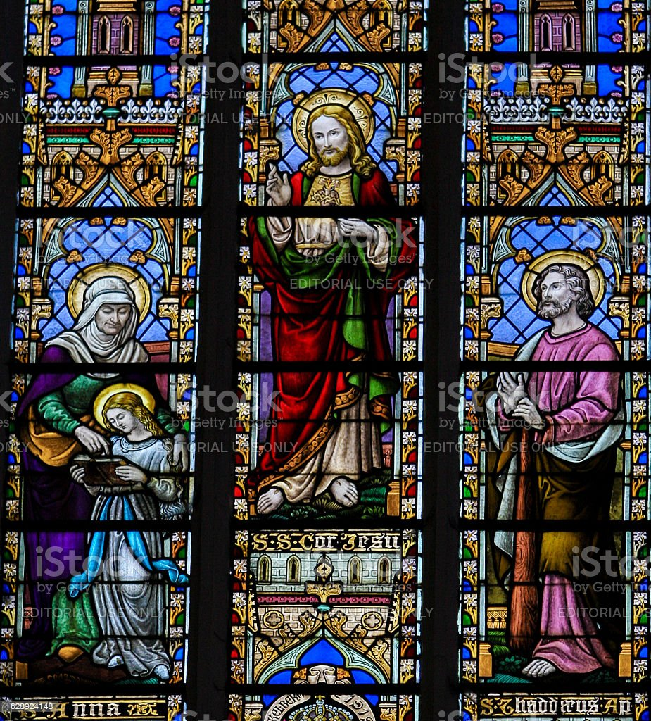 Saint Anna, Jesus and Thaddaeus stock photo