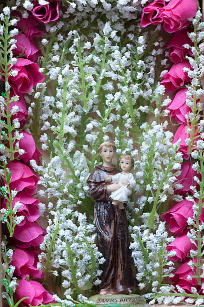 saint anthony of padua holding baby jesus. - st. anthony of padua stock photos and pictures