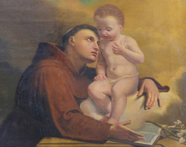 Saint Anthony of Padua in the Cathedral of Trento Painting depicting Saint Anthony of Padua in the Cathedral of San Vigilio in Trento, Trentino, Italy st. anthony of padua stock pictures, royalty-free photos & images