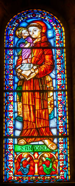 saint antony stained glass basilica the se cathedral lisbon portugal - st. anthony of padua stock photos and pictures