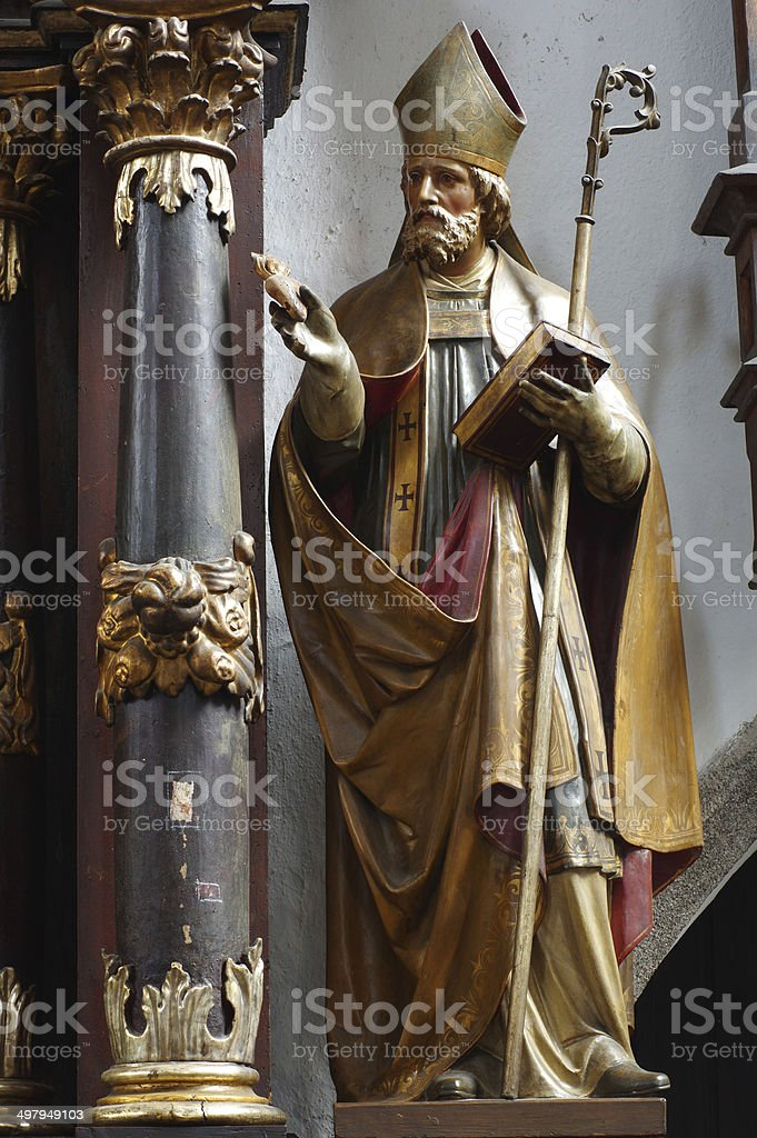 Saint Augustine baroque sculpture stock photo