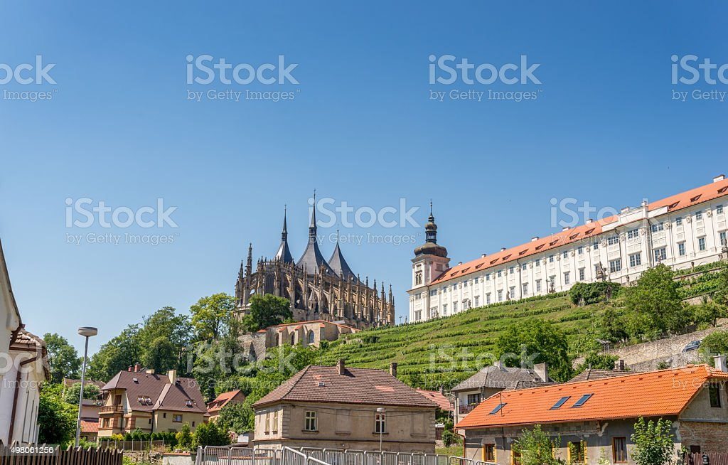 Saint Barbara Cathedral and Jesuit college Kutna Hora stock photo