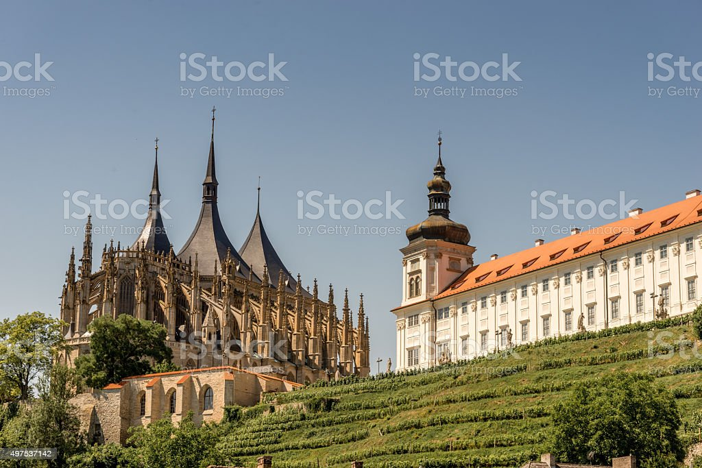 Saint Barbara Cathedral and Jesuit college stock photo