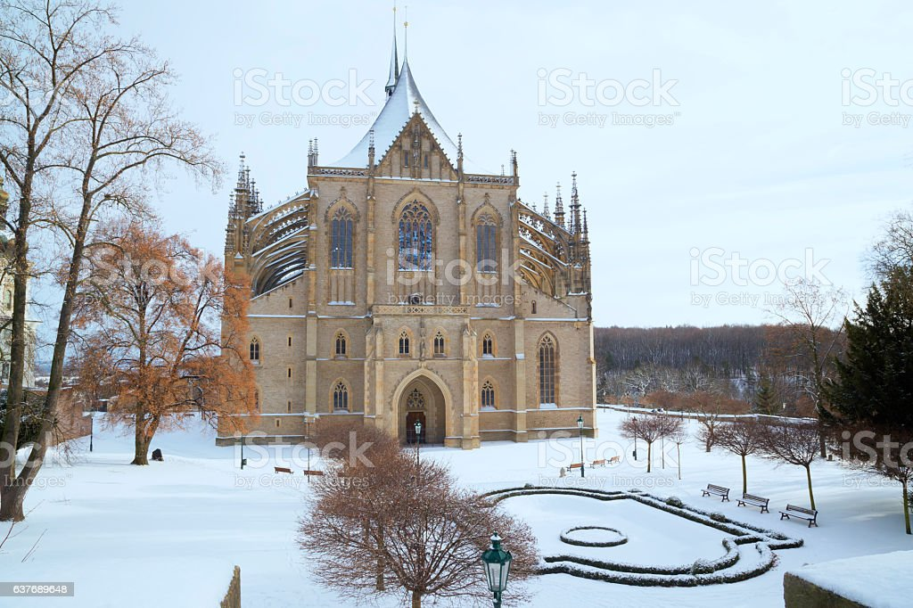 Saint Barbara cathedral in Kutna Hora stock photo