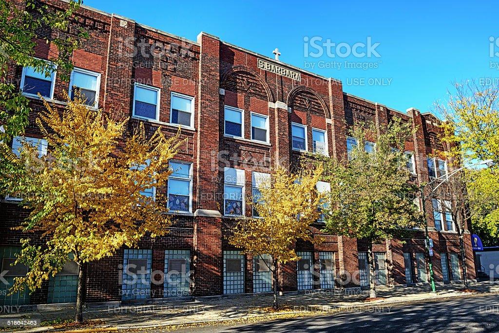 Saint Barbara Catholic School in Bridgeport, Chicago stock photo