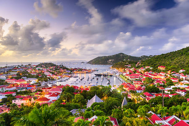 saint barths skyline - caribbean culture stock pictures, royalty-free photos & images