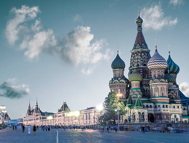 Saint Basil Cathedral on Red Square in Moscow, Russia stock photo