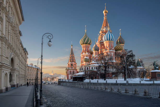 saint basil's cathedral and near buildings  from req square at sunrise in winter moscow Russia saint basil's cathedral and near buildings  from req square at sunrise in winter moscow Russia moscow russia stock pictures, royalty-free photos & images