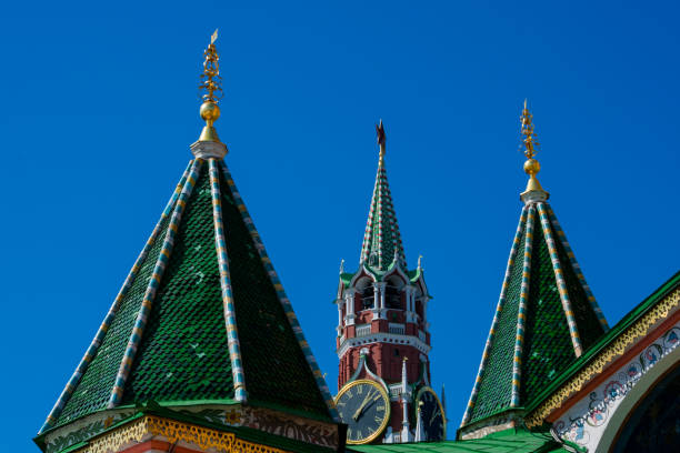 Saint Basil's Cathedral and Spasskaya Tower stock photo