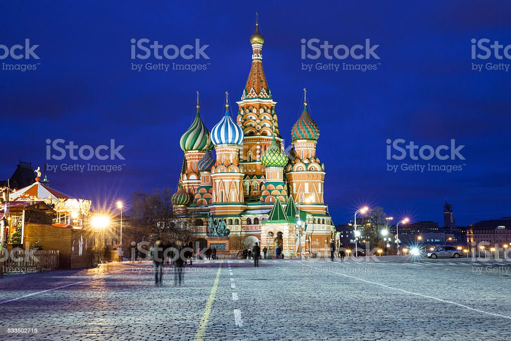 Saint Basil's Cathedral at night stock photo