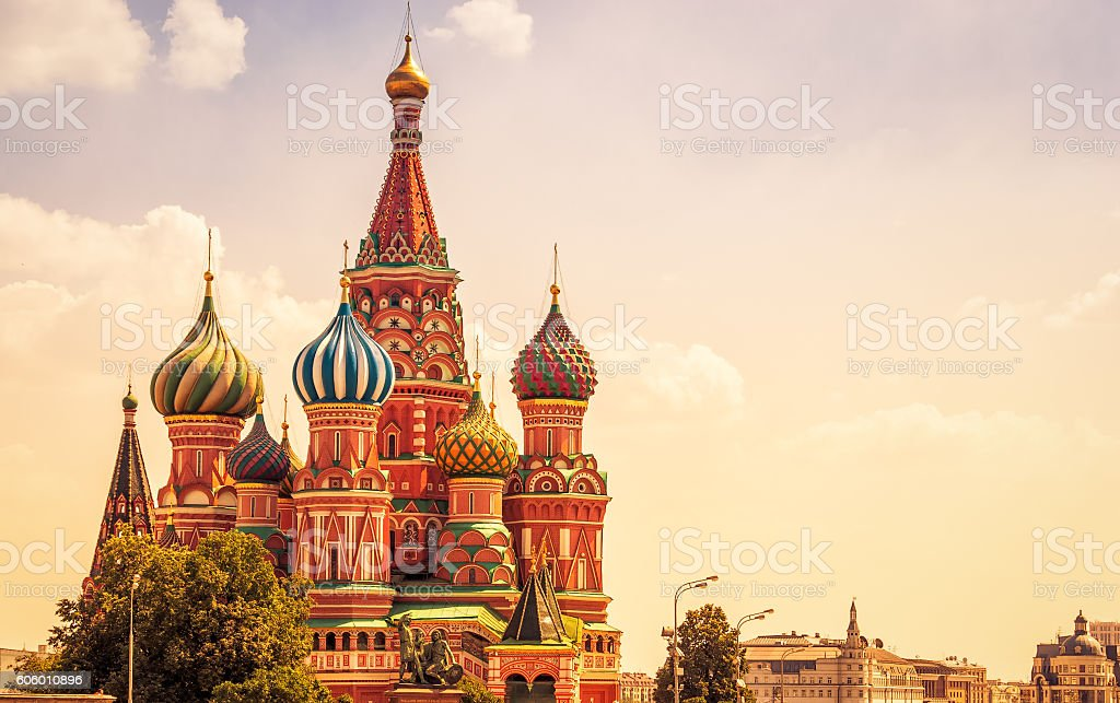 Saint Basil`s Cathedral in Moscow stock photo
