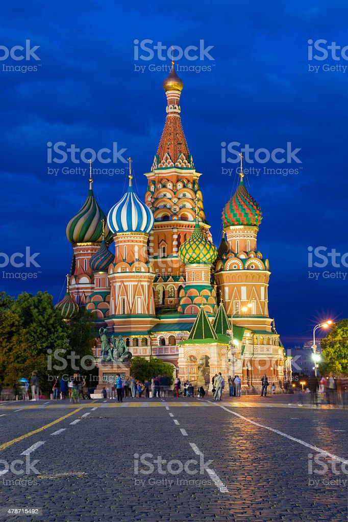 Saint Basil's Cathedral on the Red Square at dusk stock photo