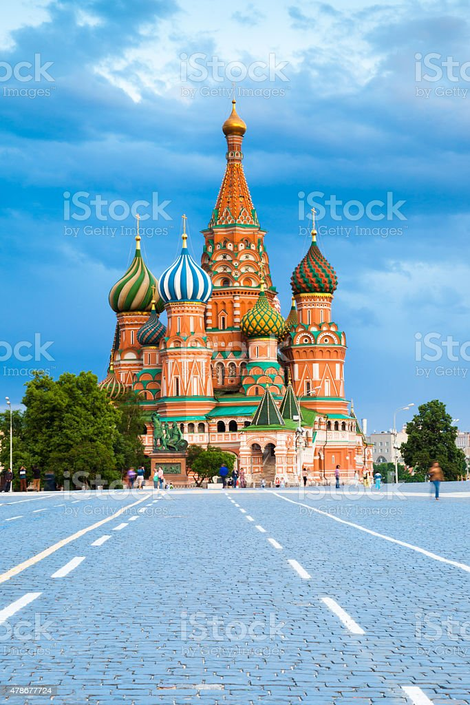 Saint Basil's Cathedral on the Red Square at sunset stock photo