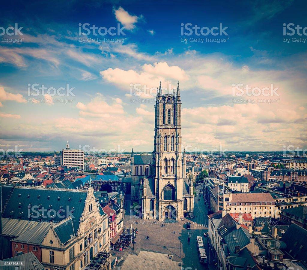 Saint Bavo Cathedral and Sint-Baafsplein, view from Belfry. Ghen stock photo