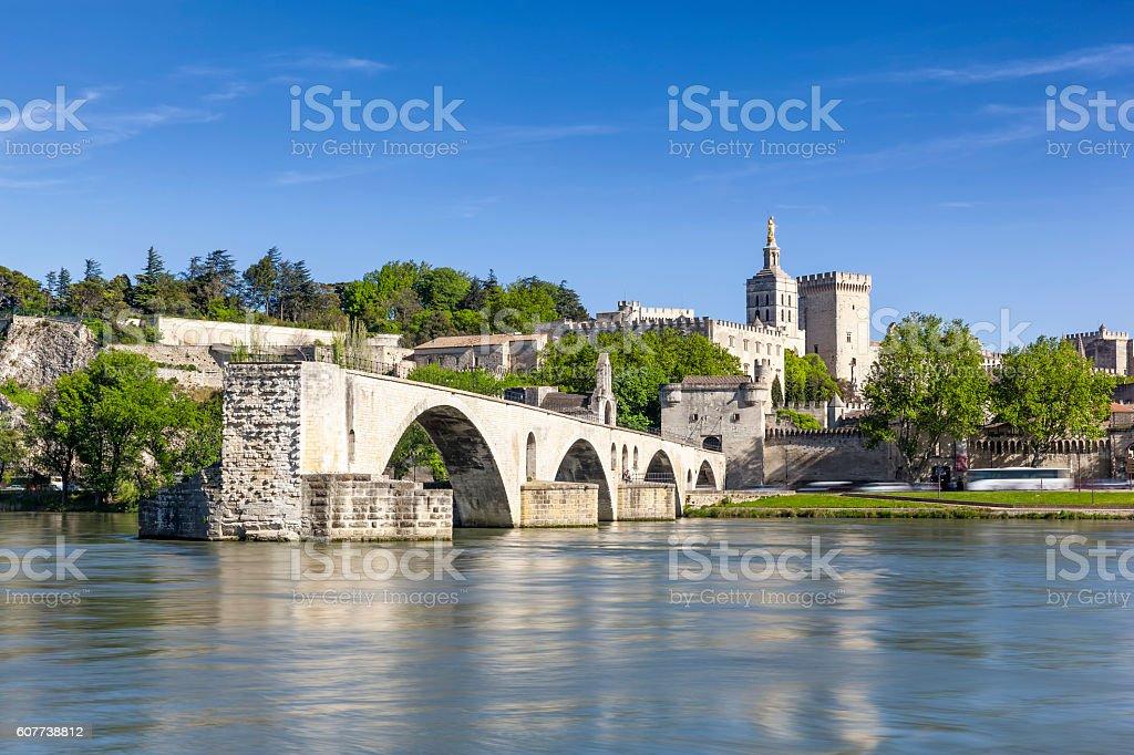 Saint Benezet bridge and Palace of the Popes stock photo