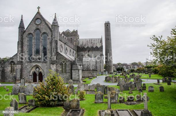 Saint Canice's Cathedral and Cemertery in Kilkenny, Ireland during day of autumn
