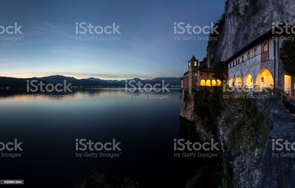 Santa caterina del sasso monastery stock photo