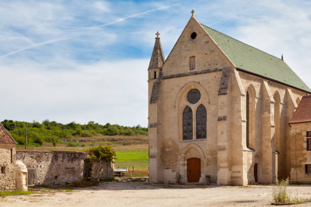 Saint Christopher chapel of the commandery of Moisy-le-Temple in Montigny-l'Allier stock photo