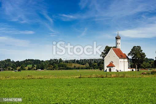 Colomanskirche (Saint Coloman Church) in the Baroque style. Schwangau, Allgau, Bavaria, Germany