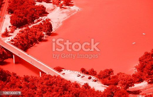 istock Saint Croix lake and Verdon River, France. Living coral colors. 1092300078