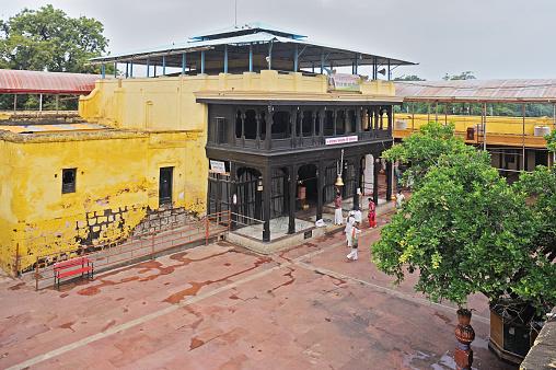 22 09 2012 Saint Eknath Samadhi Mandir's(Temple) old wooden entrance gate and building Paithan Aurangabad Maharashtra India