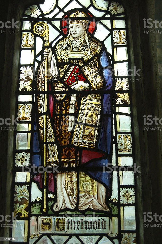 Saint Ethelwold stained glass window royalty-free stock photo