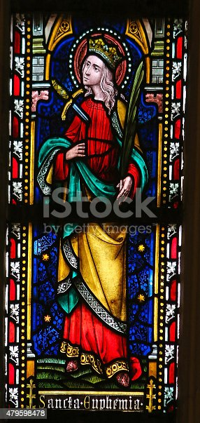 istock Saint Euphemia - Stained Glass in Cathedral of Sint-Truiden 479598478