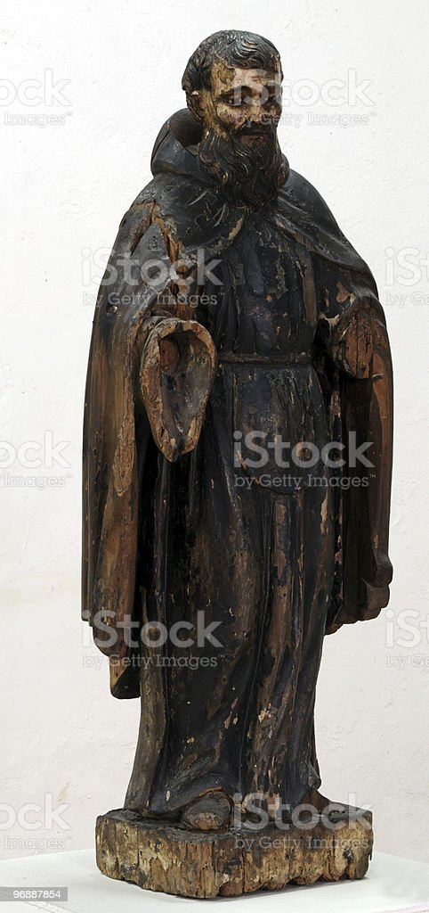 Saint Francis of Paula, 17 th century Spanish wood sculpture royalty-free stock photo