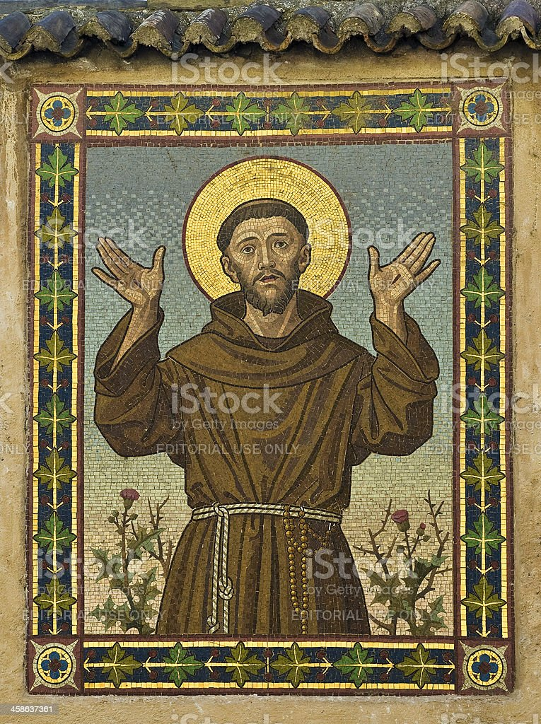 Saint Francis (Mosaic in Bolzano, Italy) stock photo