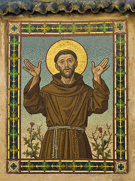 saint francis (mosaic in bolzano, italy) - conceptual symbol stock pictures, royalty-free photos & images