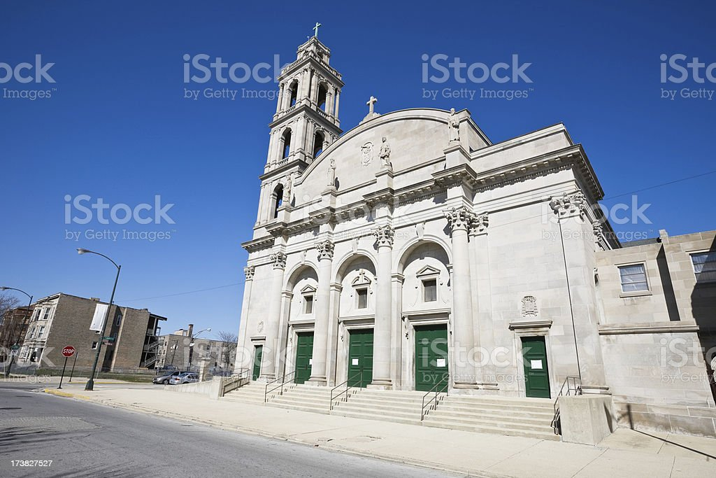 Saint Gelasius  Church in Woodlawn Chicago royalty-free stock photo