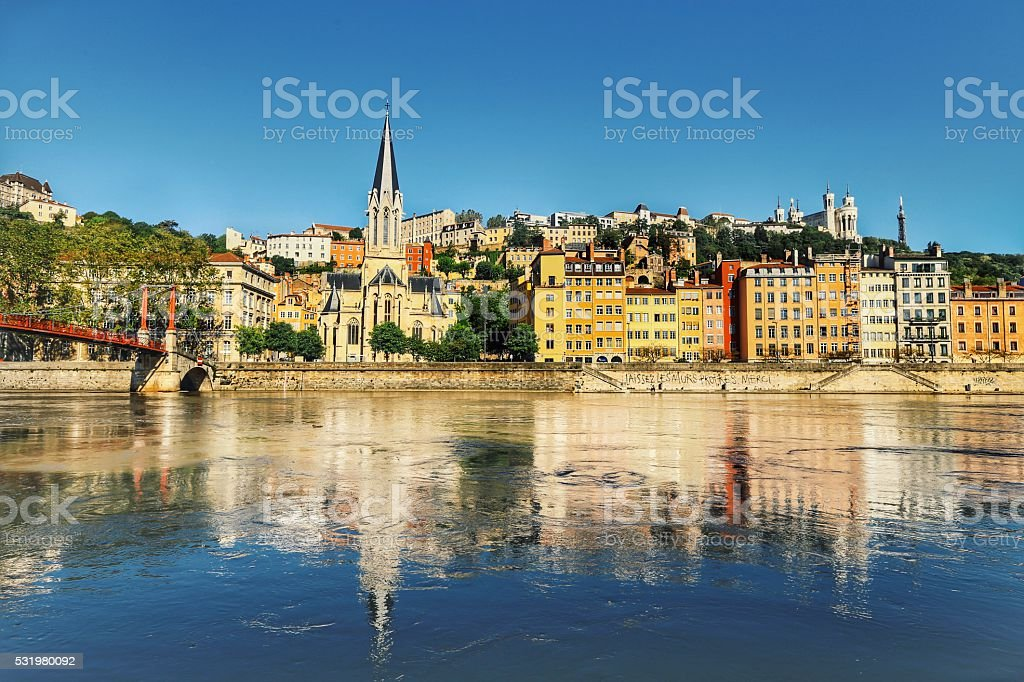 Saint Georges at Saone River stock photo