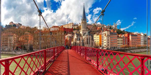 Saint Georges church and footbridge, Lyon, France stock photo