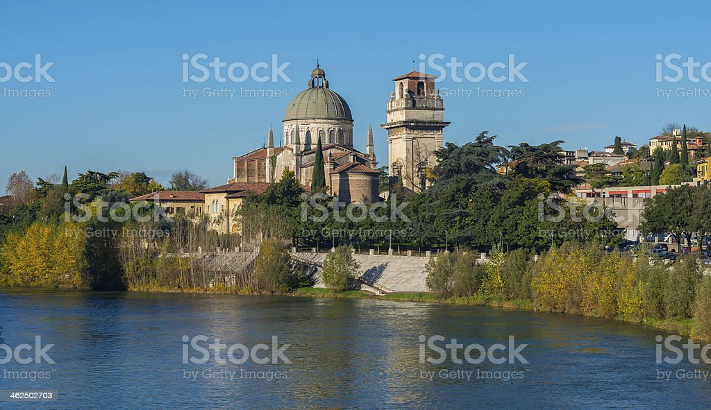 Saint George's Church on Adige River Bank in Verona royalty-free stock photo
