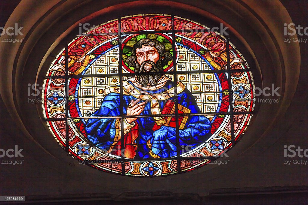 Saint Gregory Stained Glass Basilica Cathedral Andalusia Granada Spain stock photo