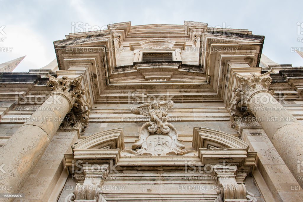 Saint Ignatius Church facade in Dubrovnik's Old Town, Croatia stock photo