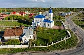 Bogandinskoe, Russia - May 13, 2015: Aerial view on Saint Ilyinsky temple from helicopter. Tyumen region
