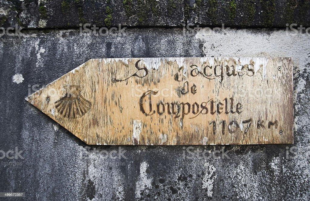 Saint Jacques de Compostelle direction sign stock photo