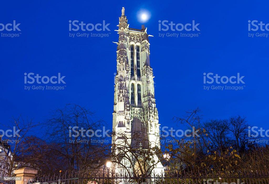 Saint Jacques tower  in evening, Paris, France. stock photo