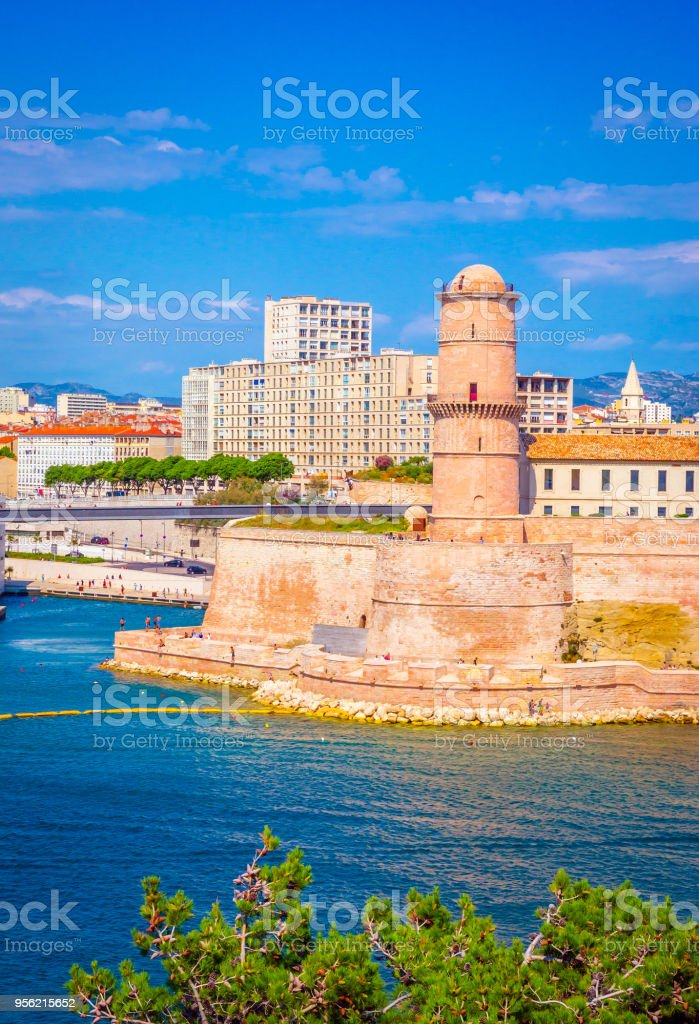 Saint Jean Castle and Cathedral de la Major and the old Vieux port in Marseille, France stock photo