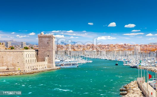 istock Saint Jean Fort and Cathedral de la Major and the Vieux port in Marseille, France 1170637103