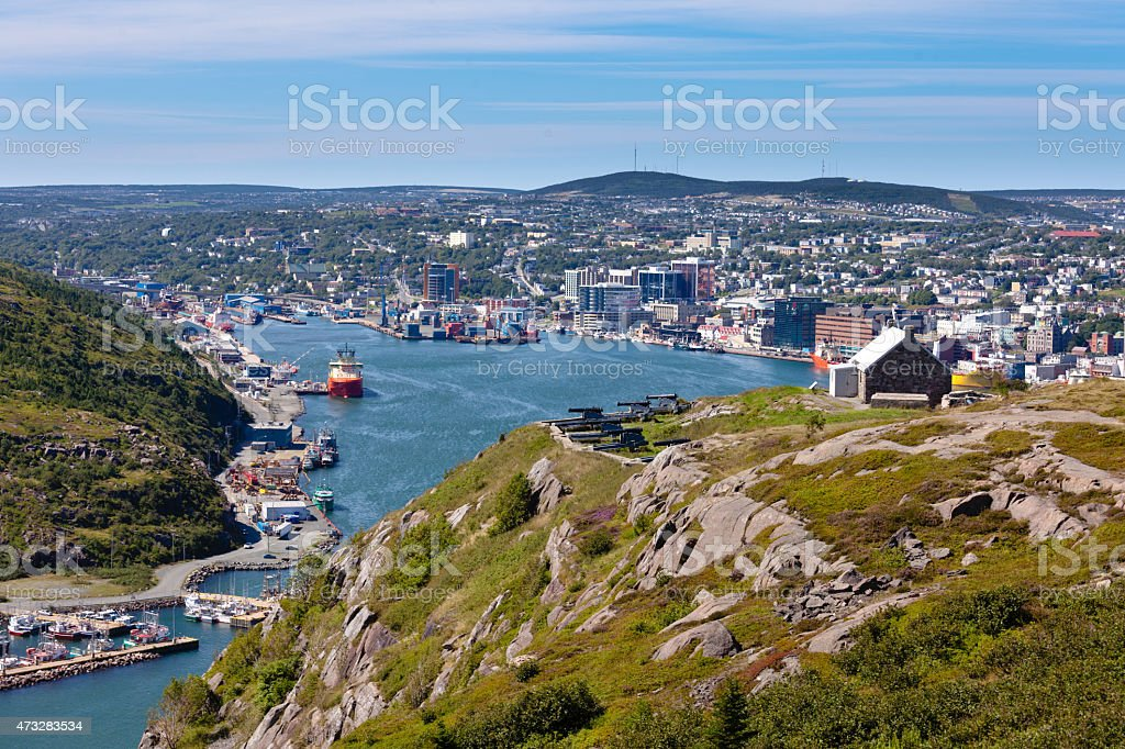 Saint Johns downtown harbour Signal Hill NL Canada stock photo