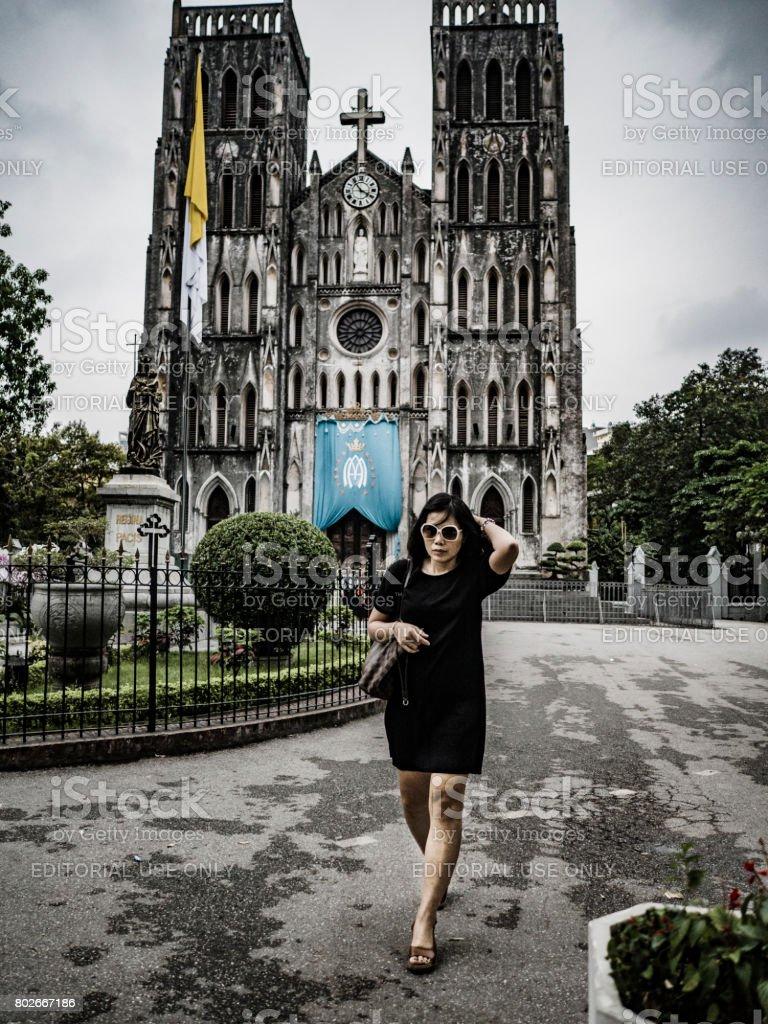 Saint Joseph cathedral Hanoi Vietnam stock photo