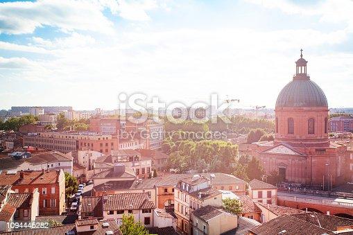 Beautiful cityscape of Toulouse and Saint Joseph de la Grave chapel at sunny day