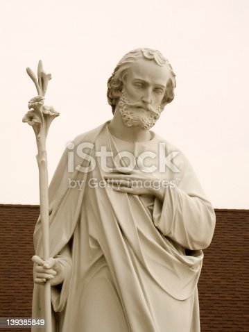 This is a close-up of a Saint Joseph statue.