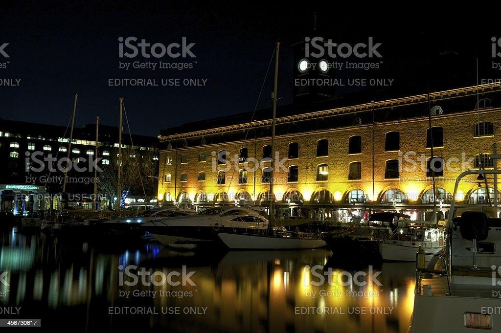 Saint Katherine Docks by night, London, UK stock photo