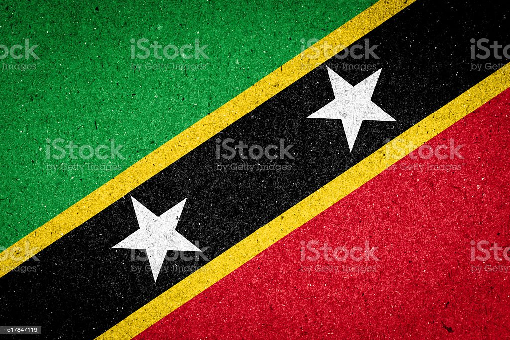 Saint Kitts and Nevis flag on paper background stock photo